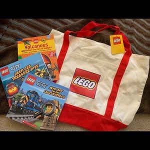 🧱 LEGO Duffle bag with books